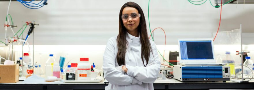 portrait of female chemical engineer in laboratory